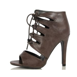 Shoes - Brown Peep Toe Caged Lace Up Single Sole Heels